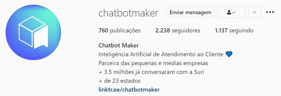 Biografia do perfil da Chatbot Maker no Instagram