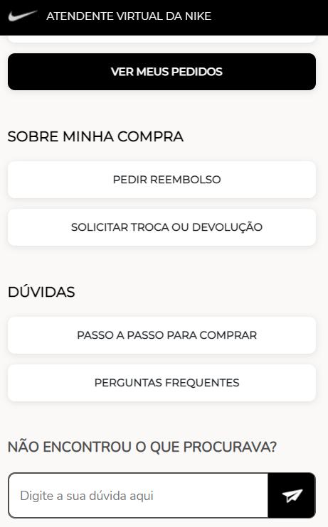 Imagem do chat online da Nike Brasil