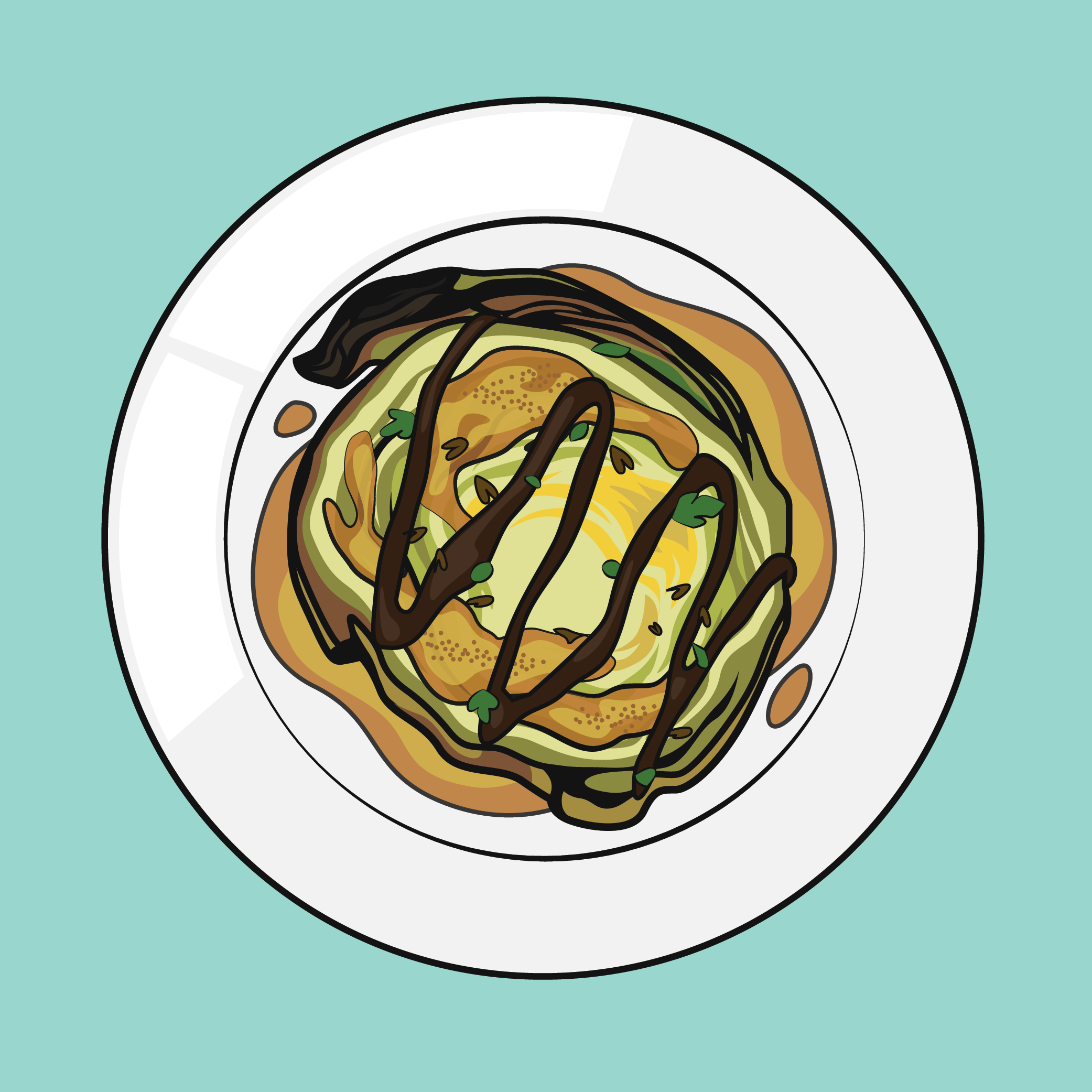 A dish of strange food, looking somewhere between pancakes, mashed potatoes, and a garnished steak.