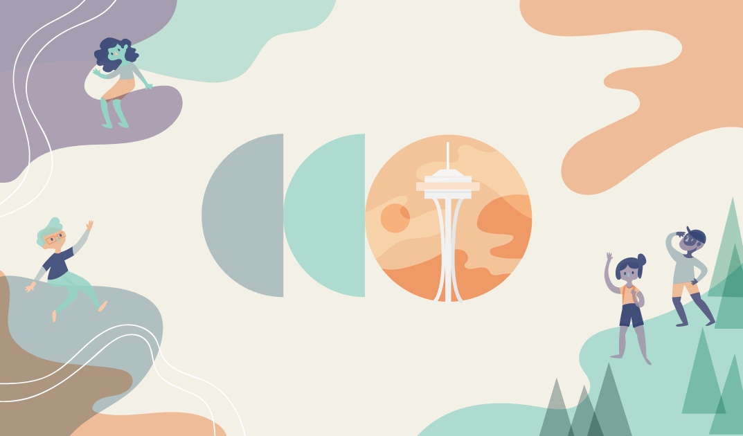 Pastel fog around a CodeConf logo with the Seattle needle illustrated