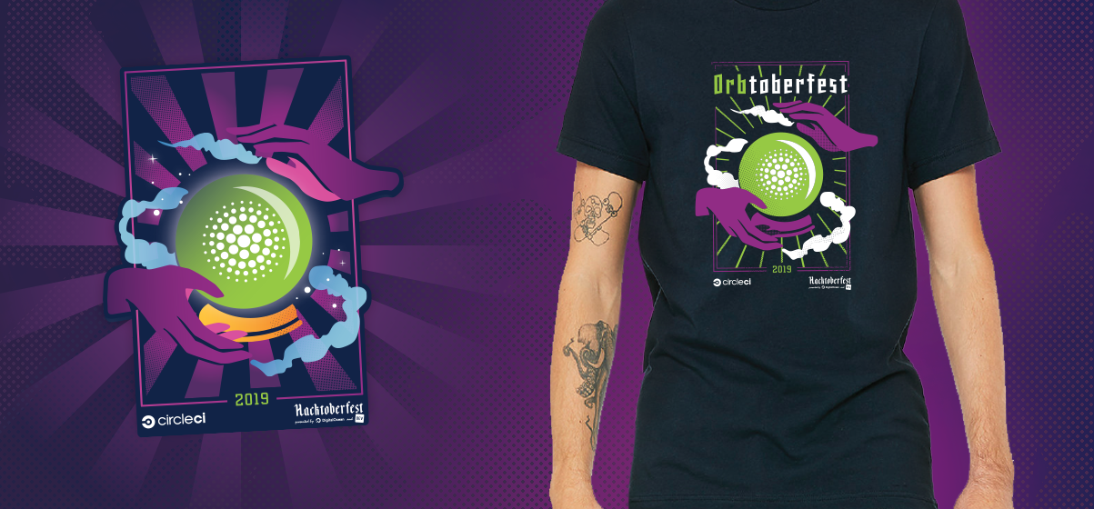 sticker and tshirt mock up with orbtoberfest 2019 graphics