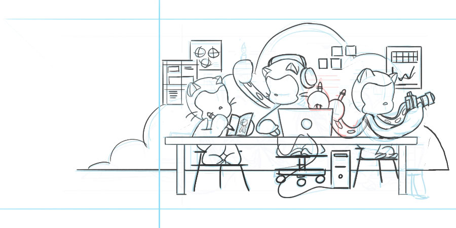 sketch of octocats working on a computer, sketching, and writing