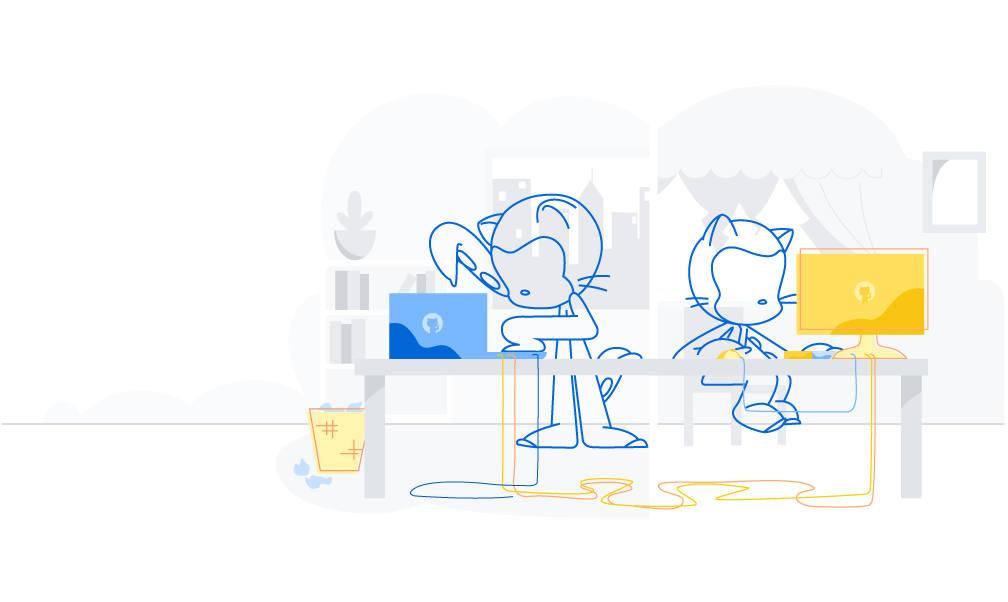 octocats working on laptops