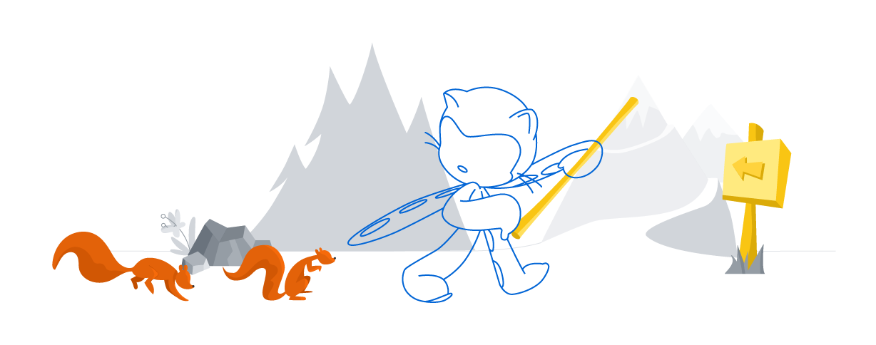 octocat walking through a forest followed by squirrels