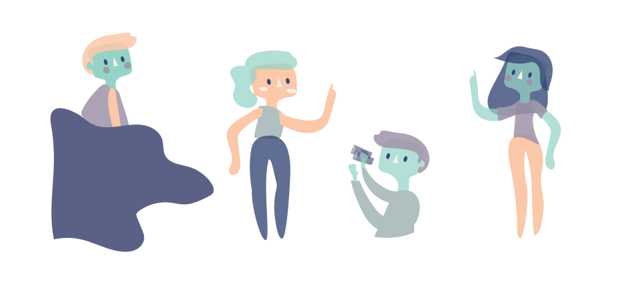 ilustration of people with purple blue and pink skin