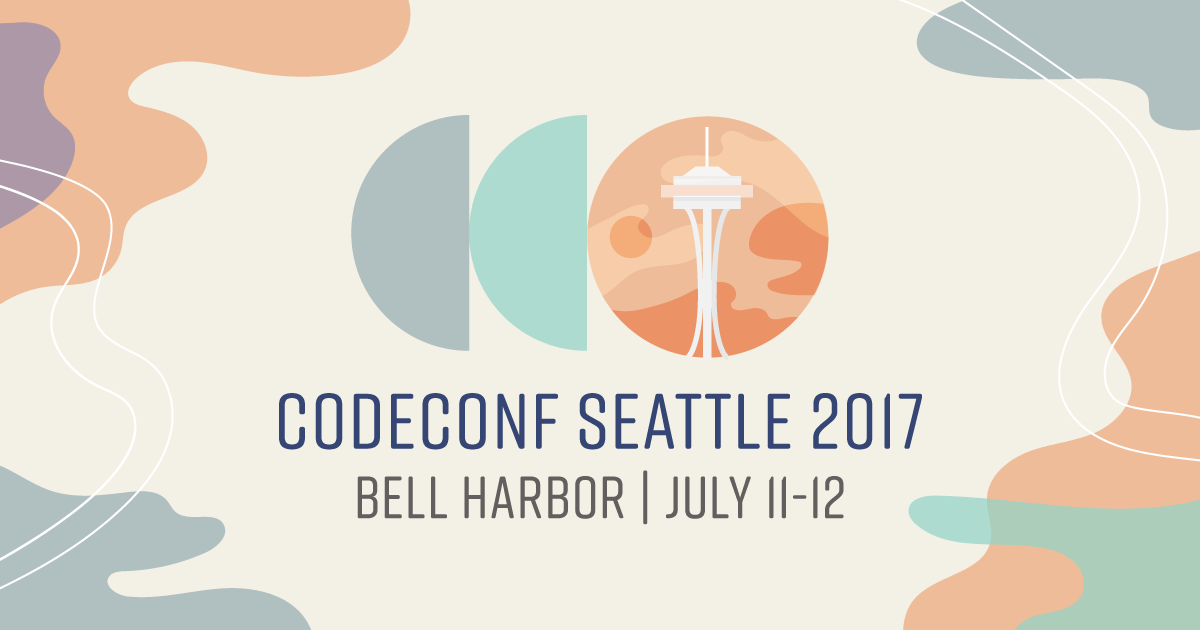 pastel misty graphic with logo incorporating seattle needle