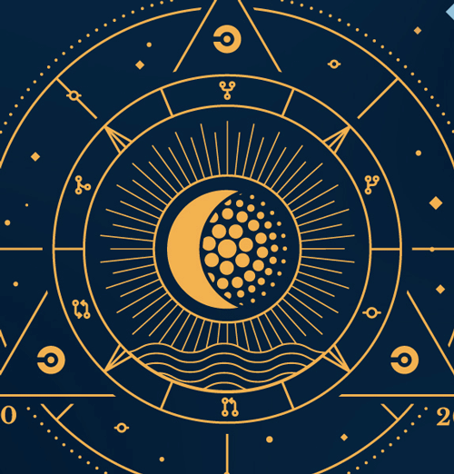 Astrological star illustration with the CircleCI orbs logo and a crescent moon in the center