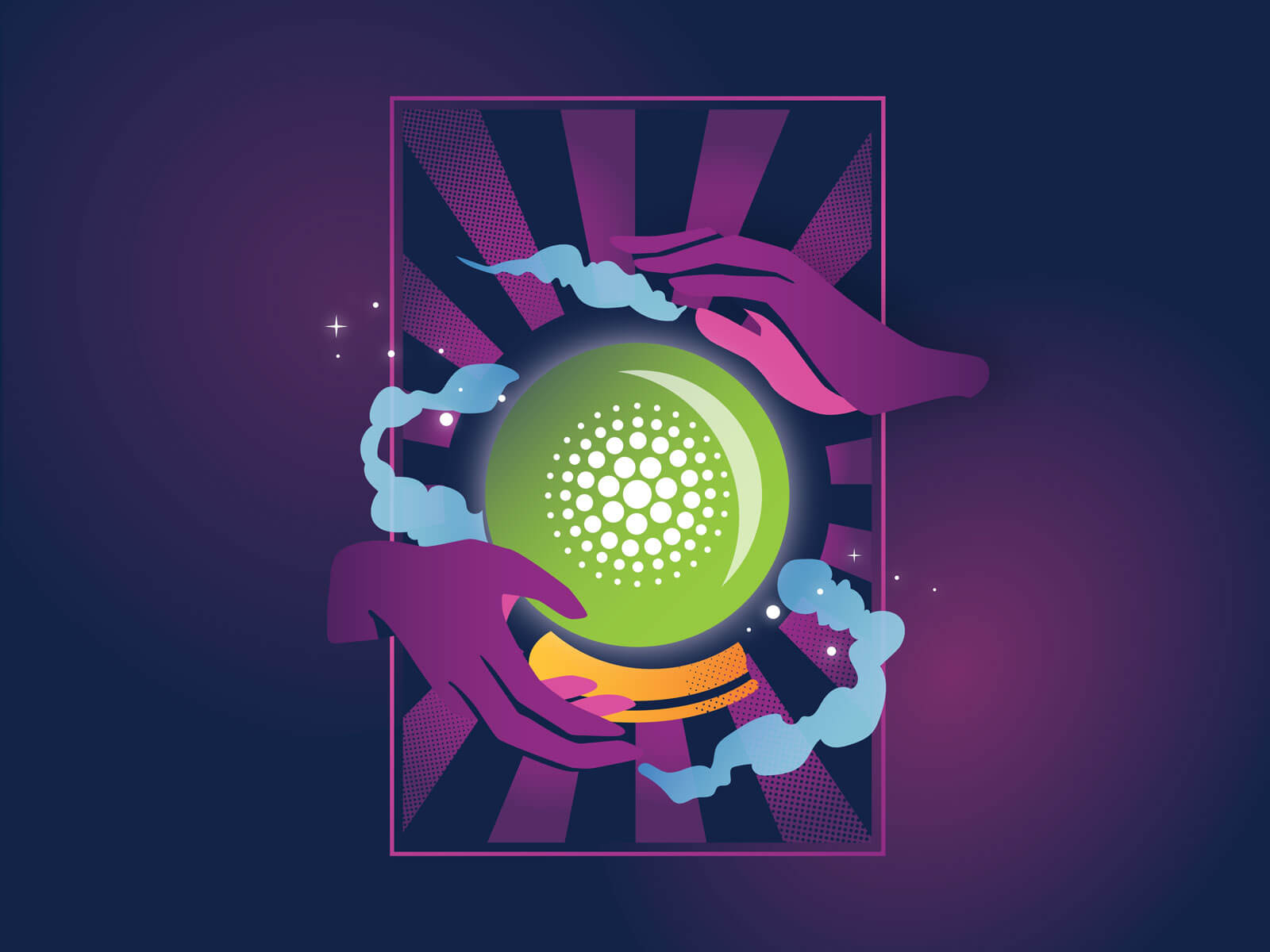 Hands around a magic crystal ball revealing the CircleCI orbs logo.