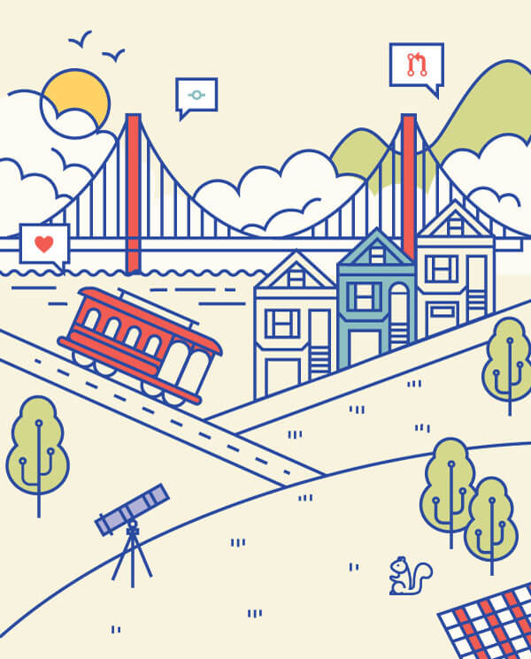 Illustration of San Francisco bay bridge, trolley, and painted ladies