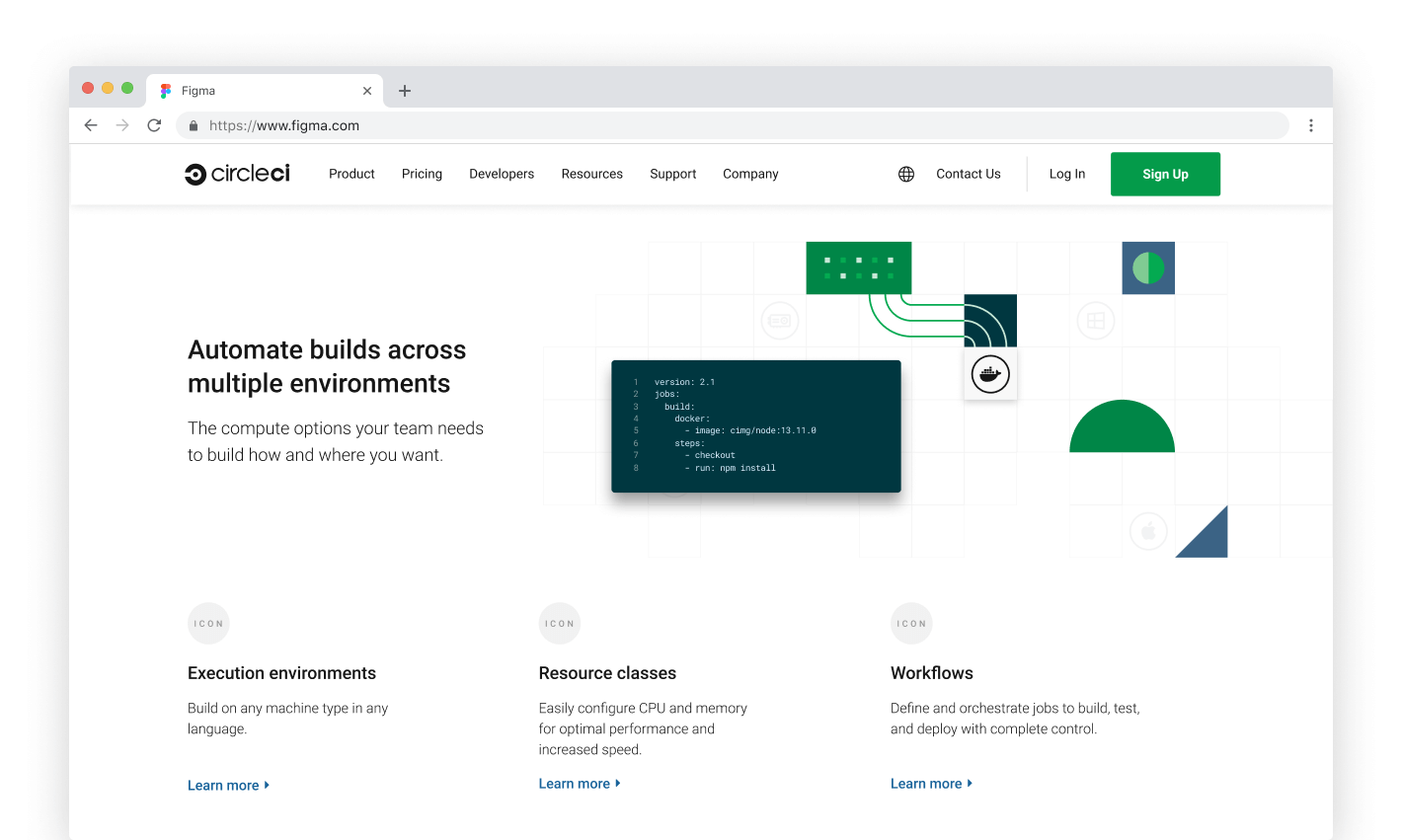 Product page execution environments section site mockup