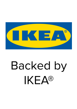 """IKEA logo with the words """"Backed by IKEA"""" below"""
