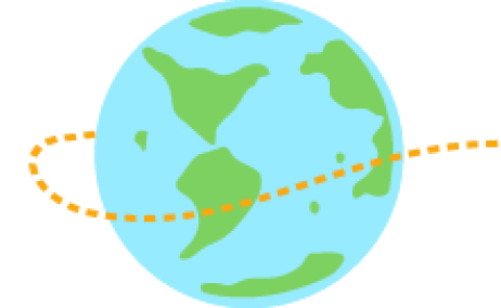 A globe with an orange trail surrounding it