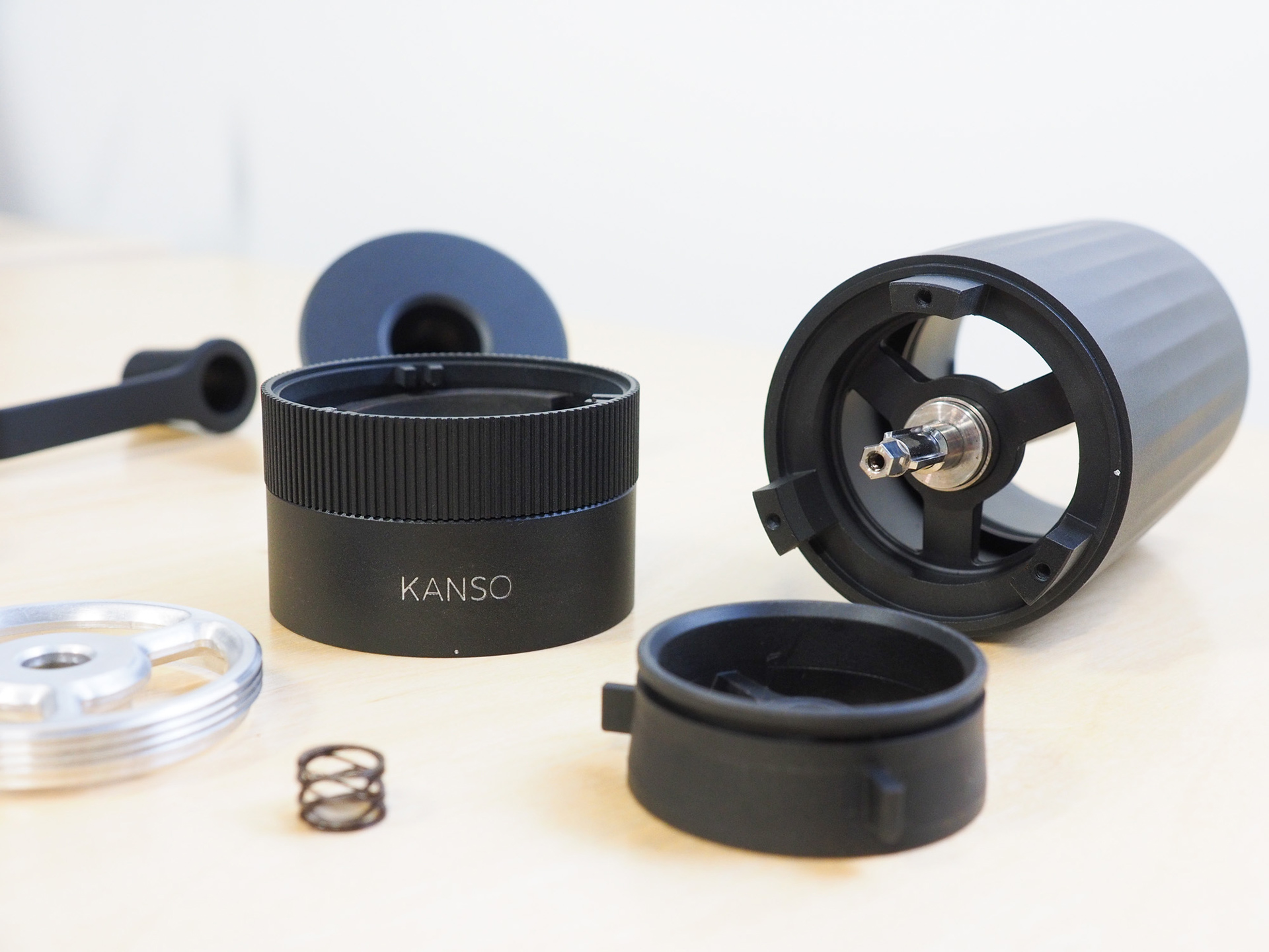 A photo of HIKU, disassembled and arranged in an aesthetically pleasing way to showcase its internal hardware.