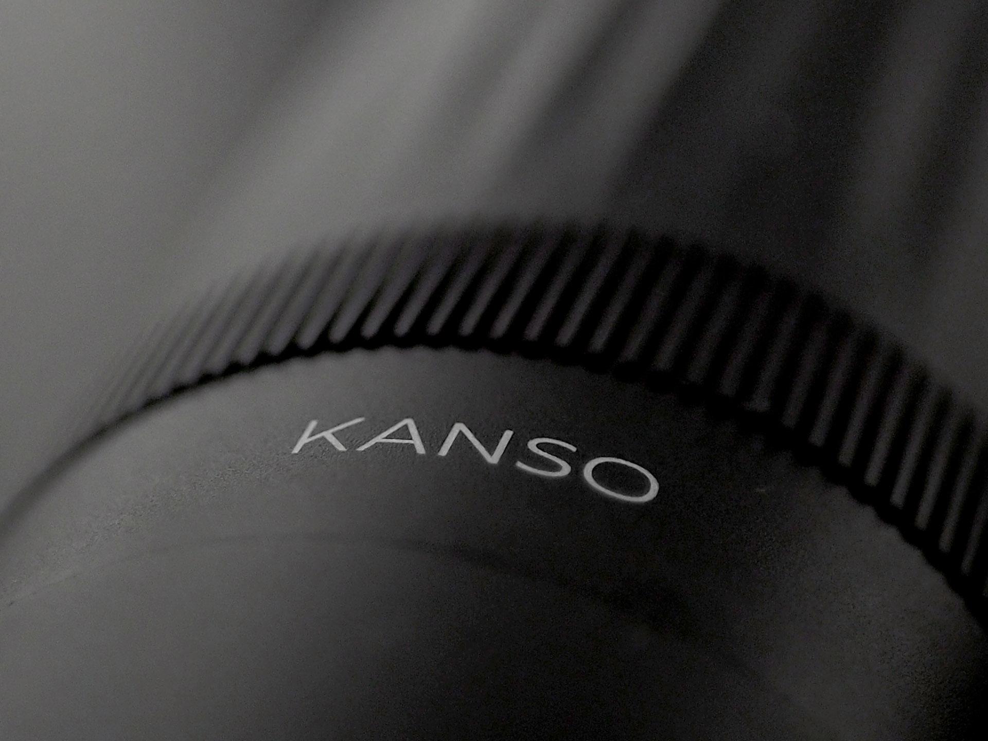 """A closeup of HIKU with the """"KANSO"""" logo."""