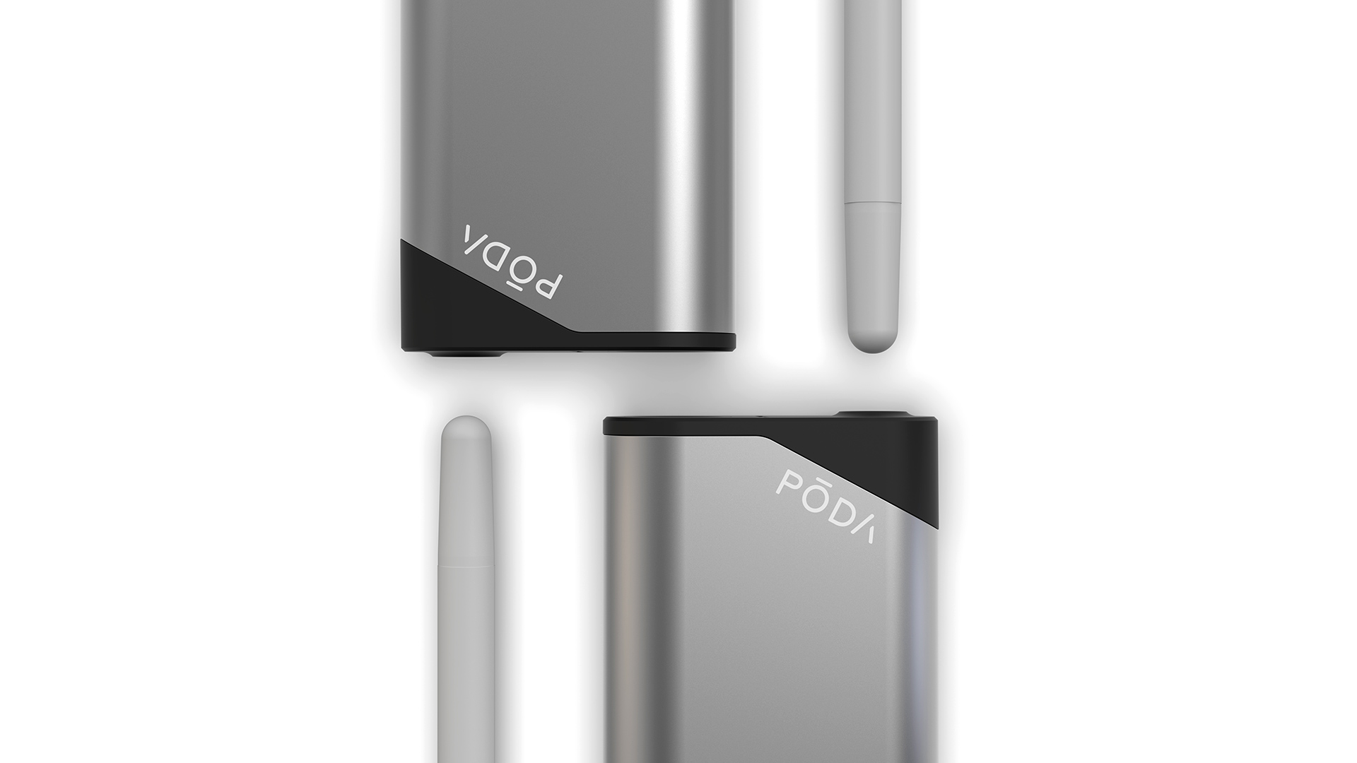 A closeup render of two PODA Personal Vaporizers and two biodegradable pods.