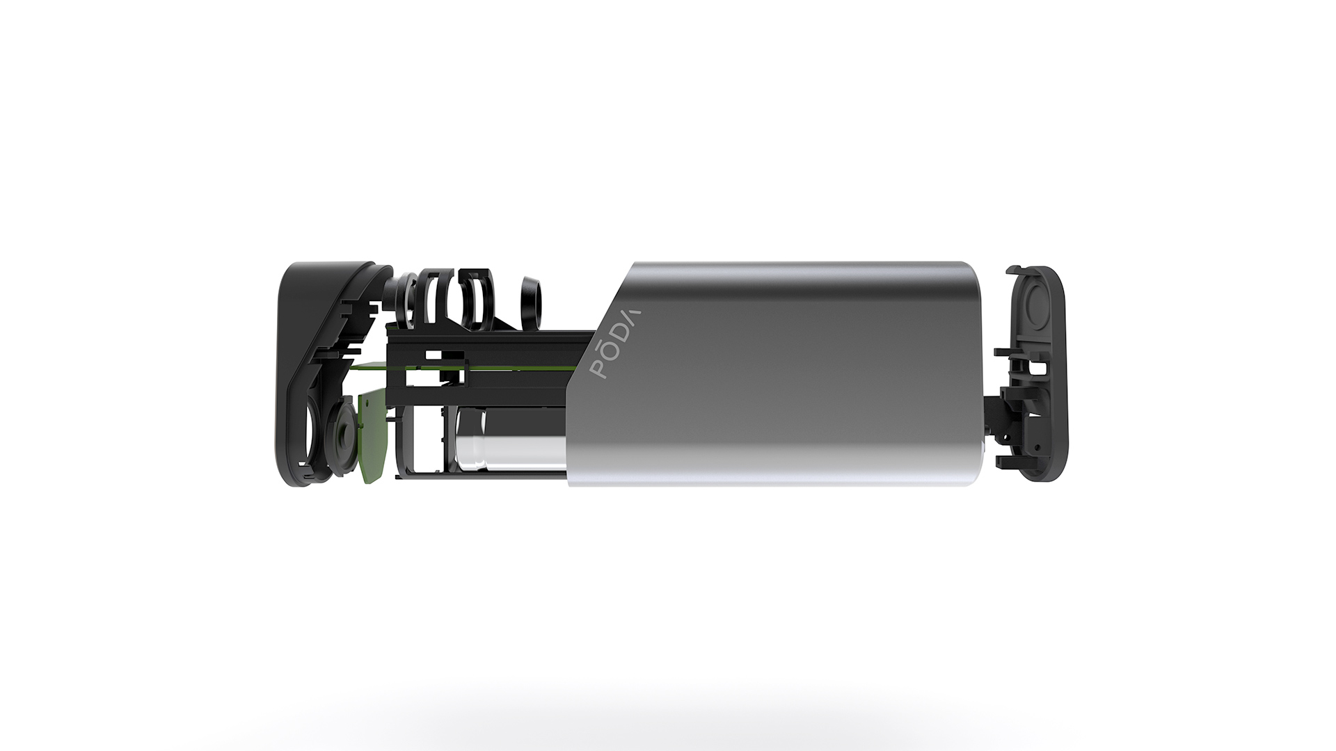 A partially exploded render of the PODA Personal Vaporizer, viewed from the side.