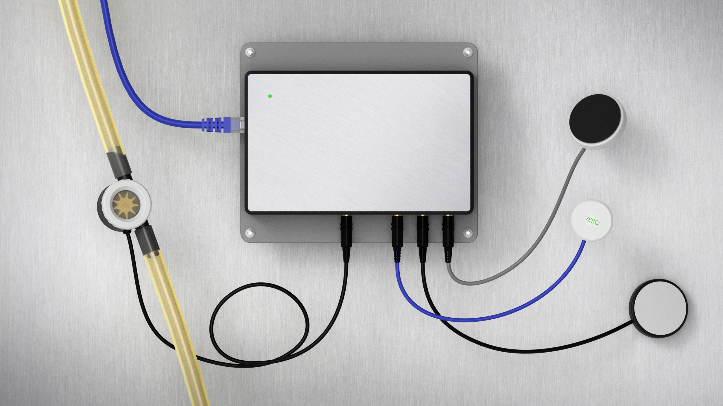 A render of the VERO Beverage Management Hardware and its various sensors, mounted on a stainless steel surface.