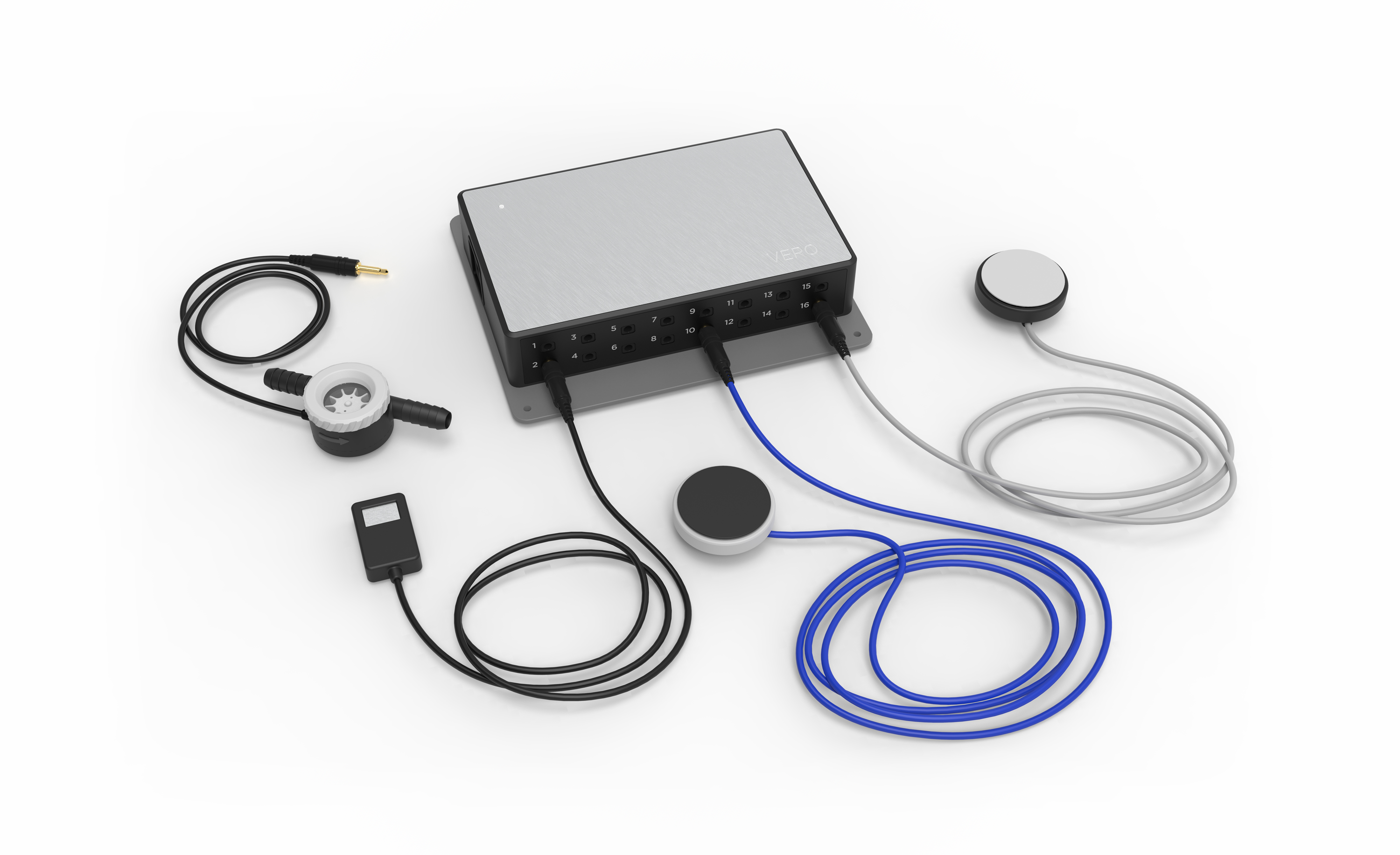 A render of the VERO Beverage Management Hardware and its various sensors.