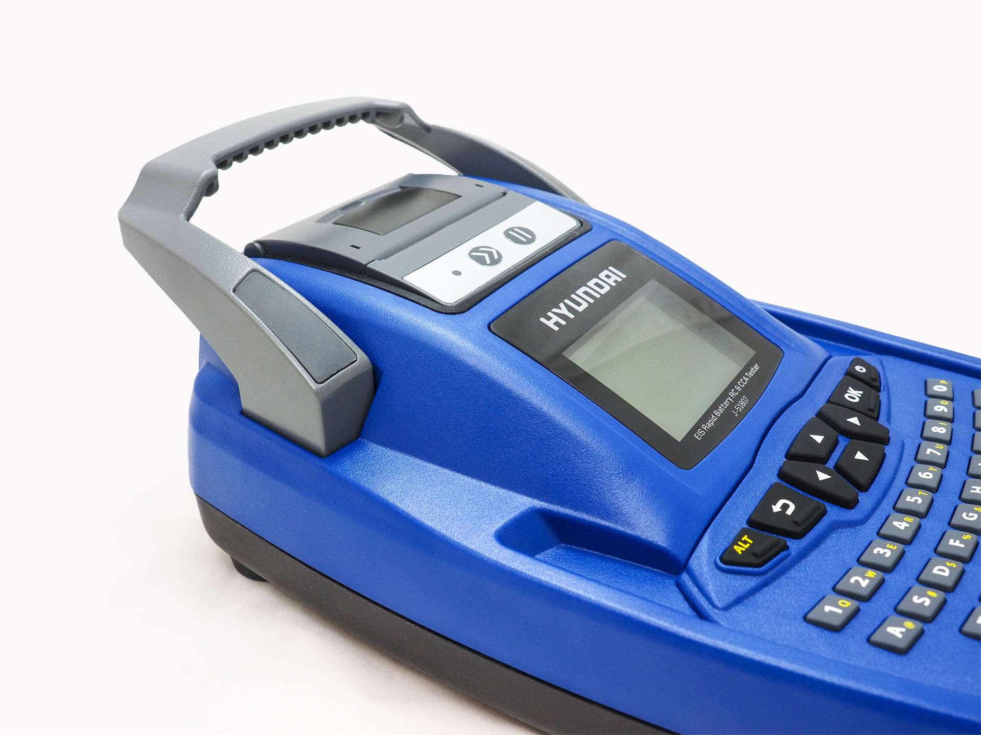 A 3/4 view of the CADEX Spectro Rapid Battery Analyzer in blue, on a plain white background.