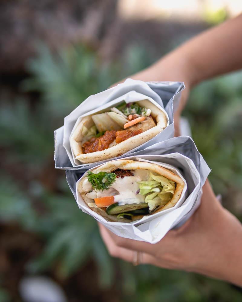 Falafel wrap and satay tofu wrap