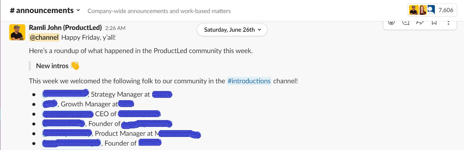 ProductLed Member Intro on Slack - Screenshot
