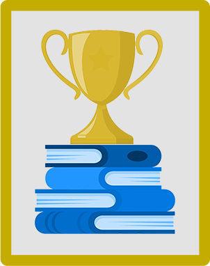 An illustration of a trophy on top of books.