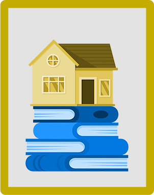 An illustration of a golden house on top of books.