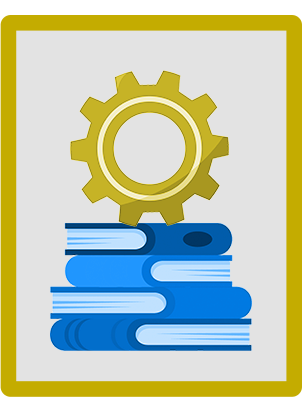 An illustration of a cog on top of books.