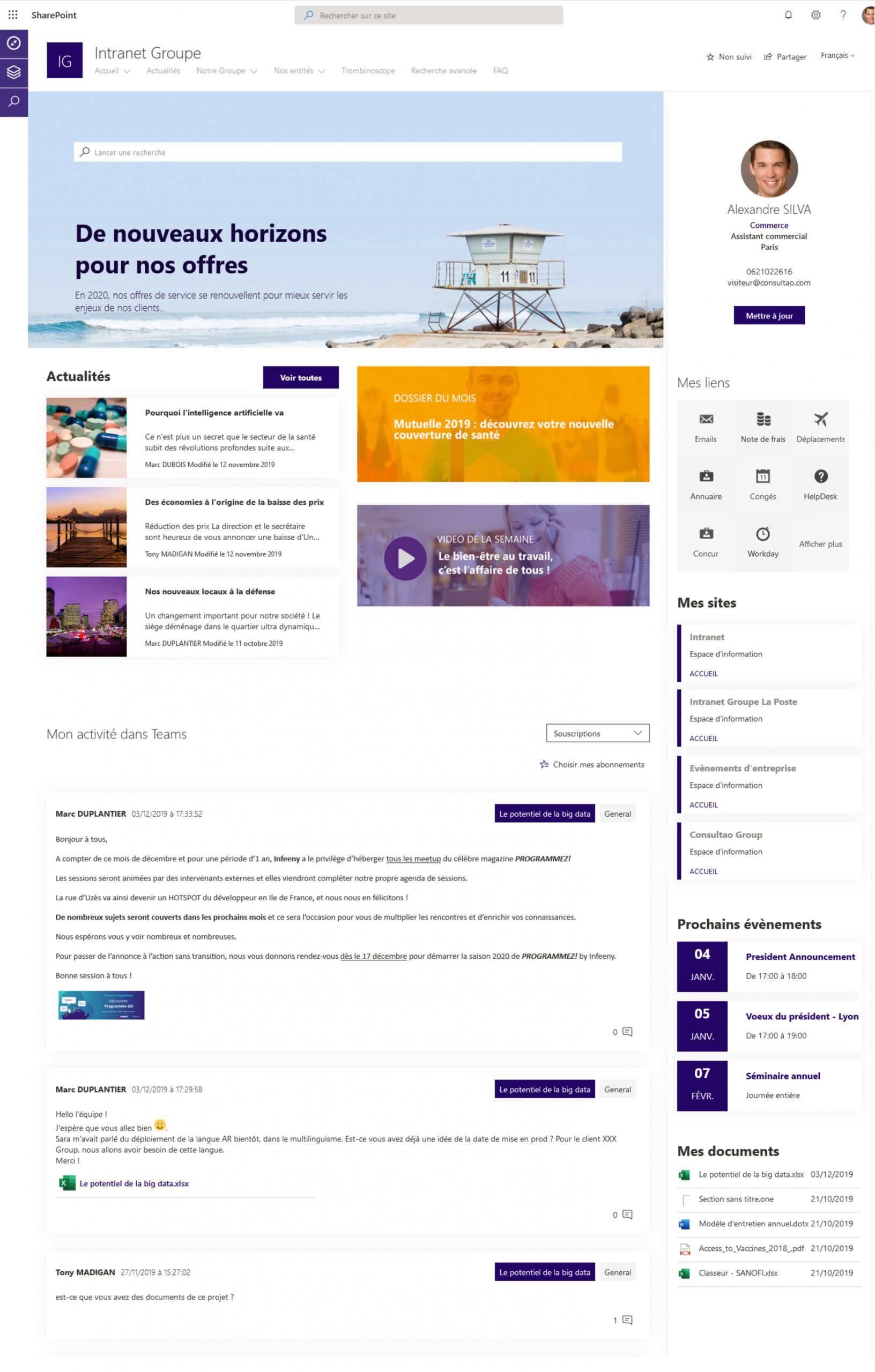 Digital Workplace communication intranet groupe filiales