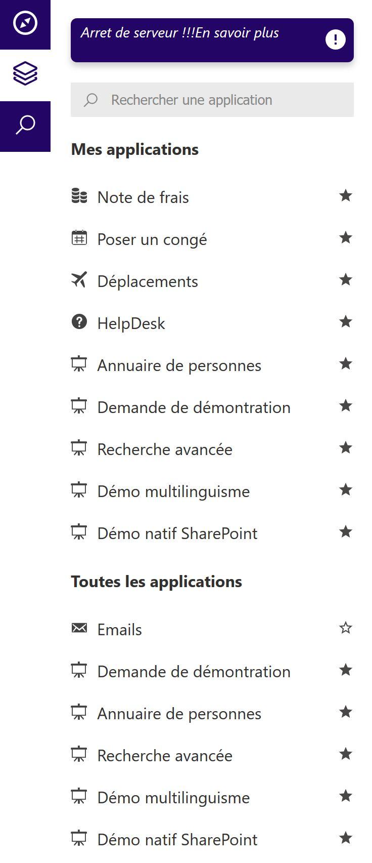 Applications d'entreprise liste intranet