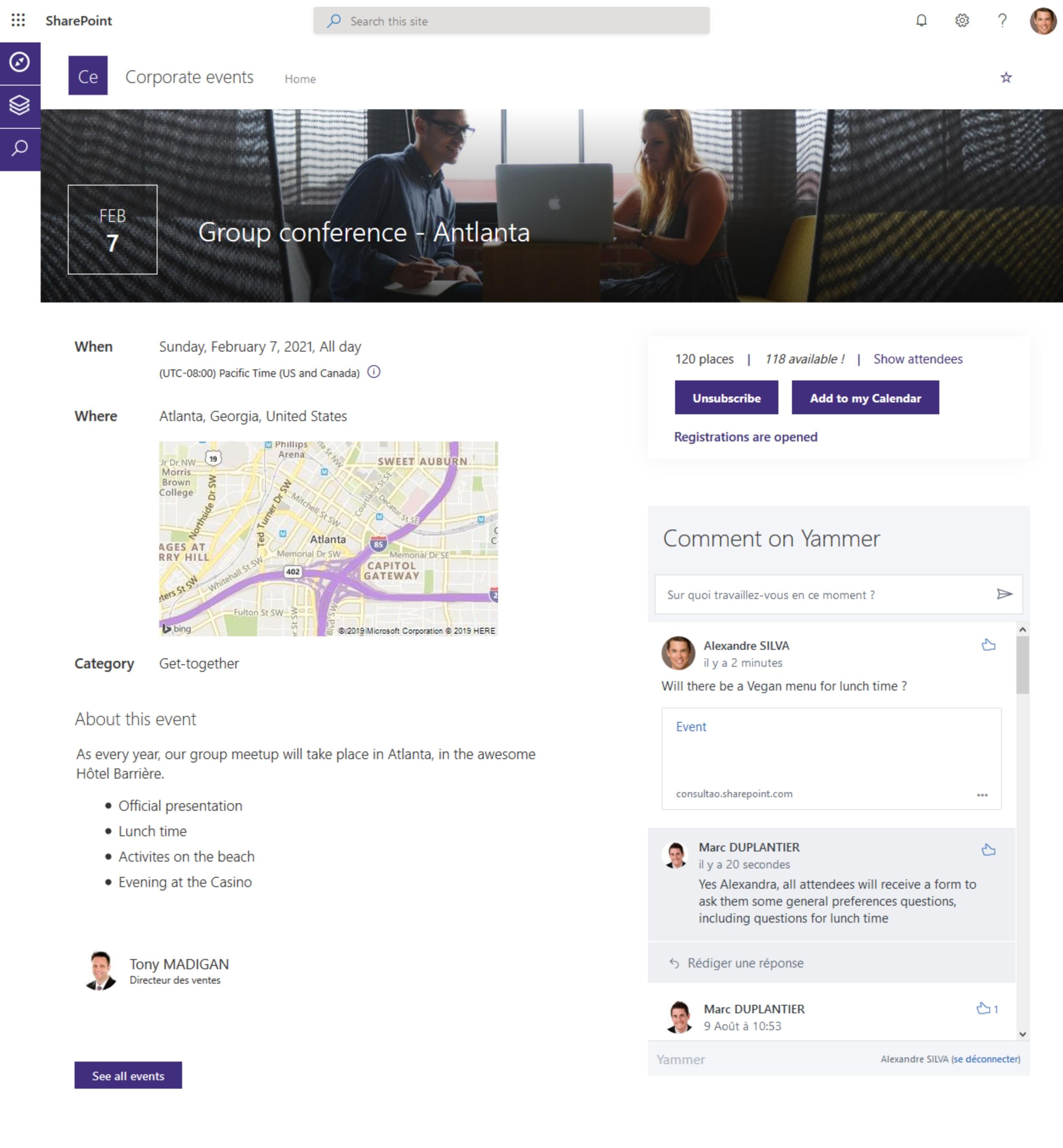 Evènement Modern SharePoint dans votre intranet Office365 - Vue de détail