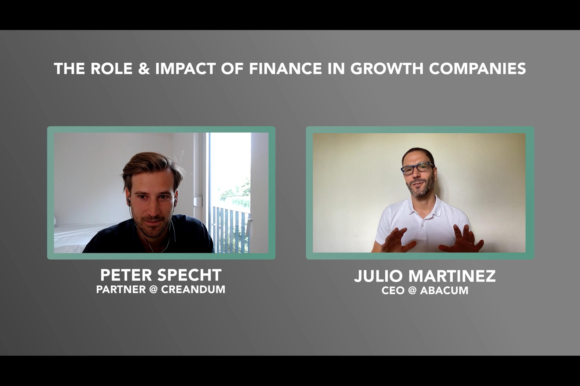 A screenshot of the webinar with Peter Specht & Julio Martinez