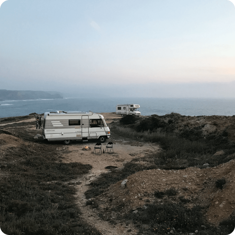 RV next to seaside