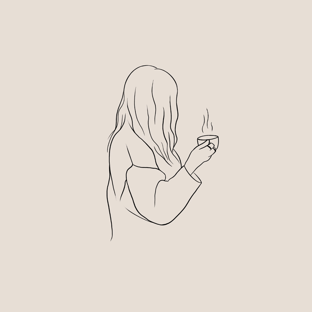Illustratie van een meisje in een trui met een kopje warme thee in haar handen.