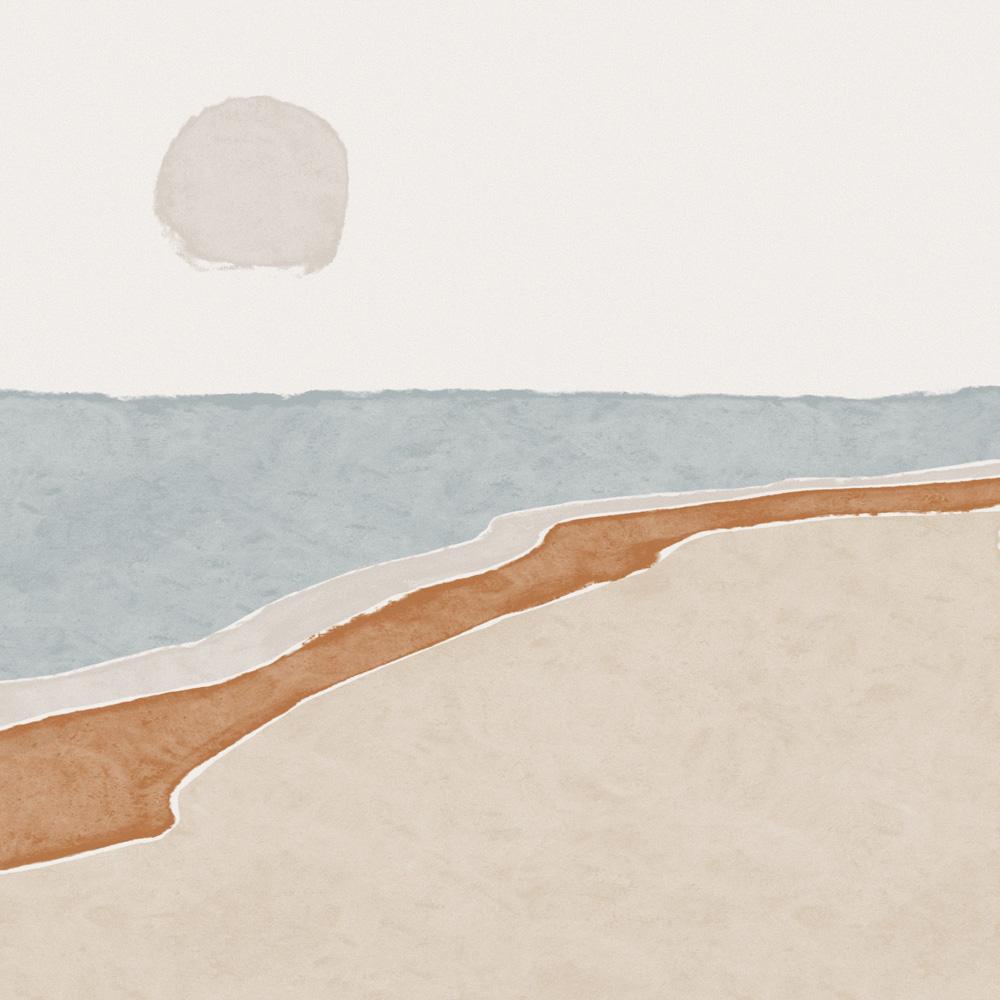 Illustratie van de kust, uitkijkend op de zee. Alsof je er zelf aan het wandelen bent.
