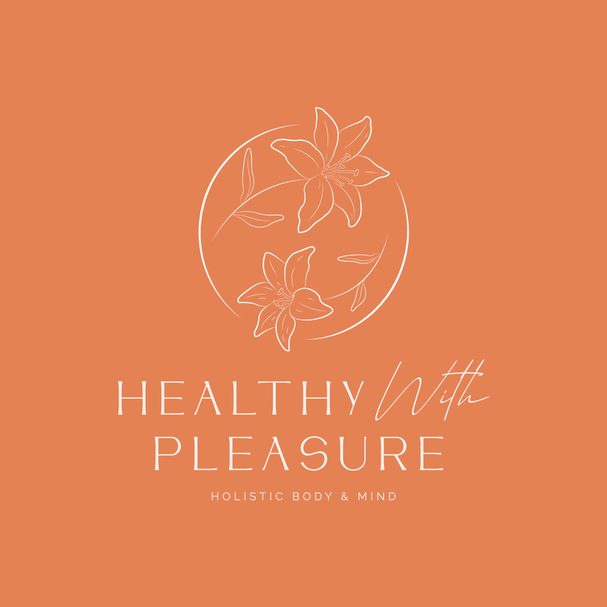 Het primaire logo voor healthy with pleasure op de kleur peach.
