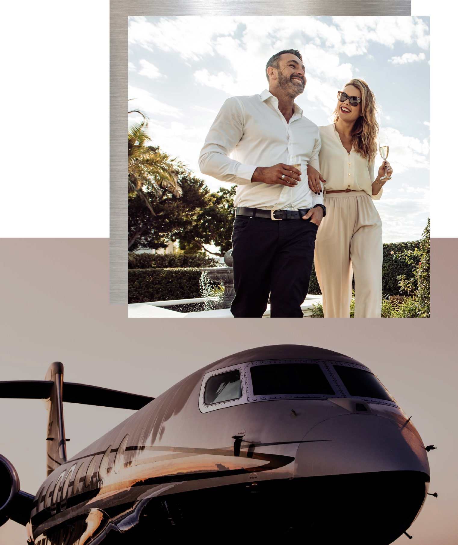 a couple smiling and a private jet