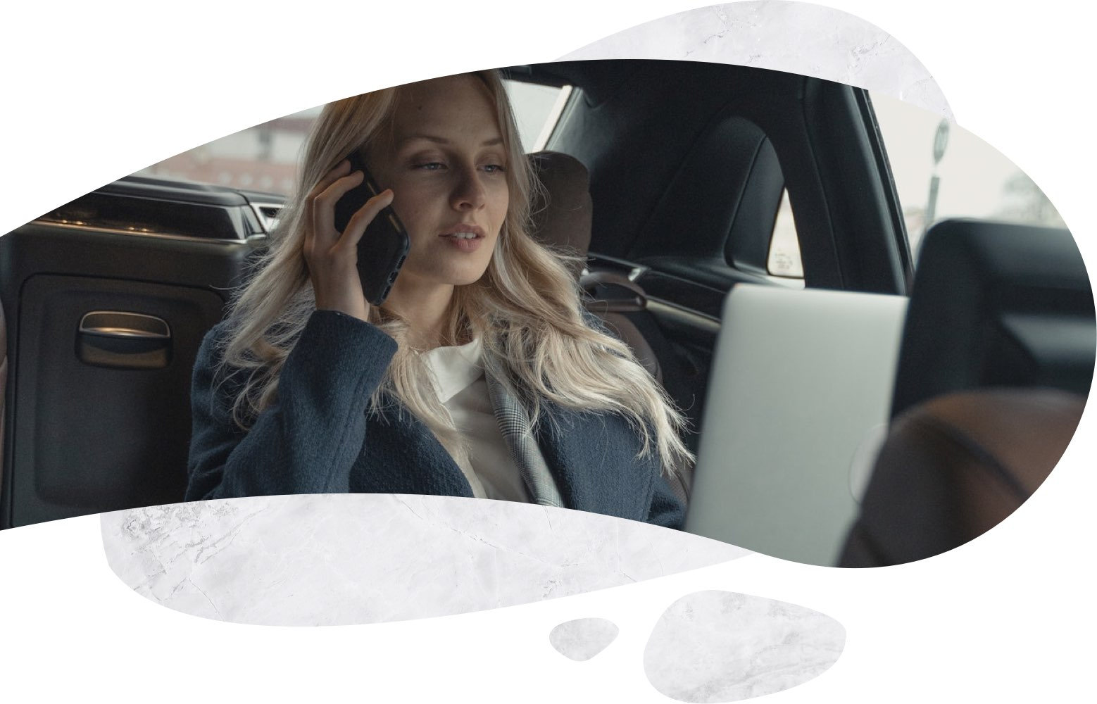 a woman on the phone working