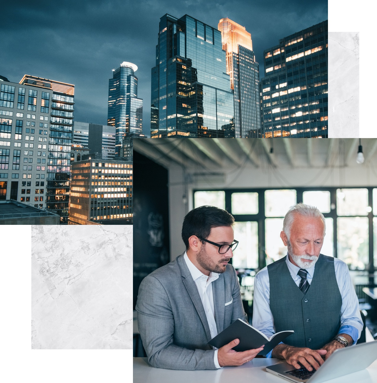 buildings and two men looking at a laptop