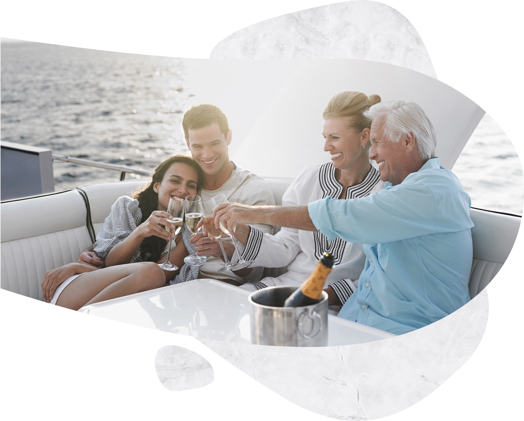 a family cheers on a boat