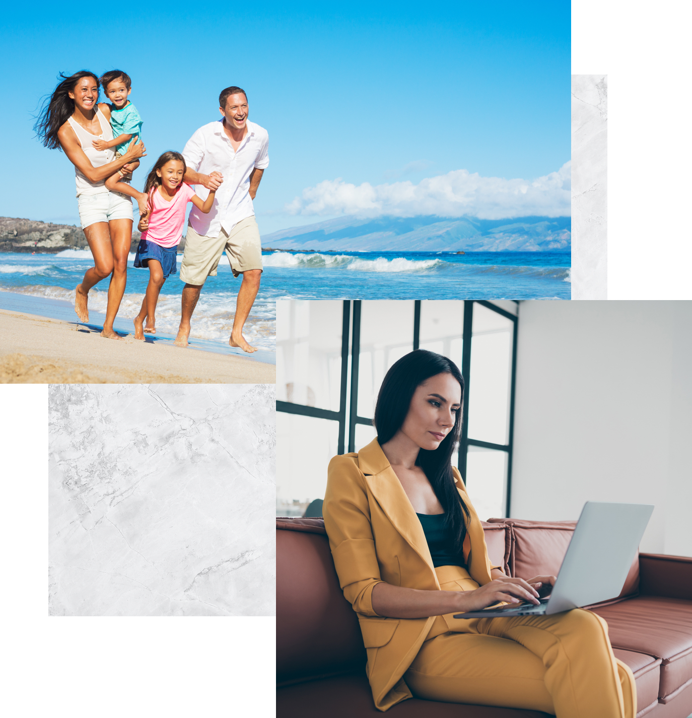 a family on the beach and a woman on her laptop