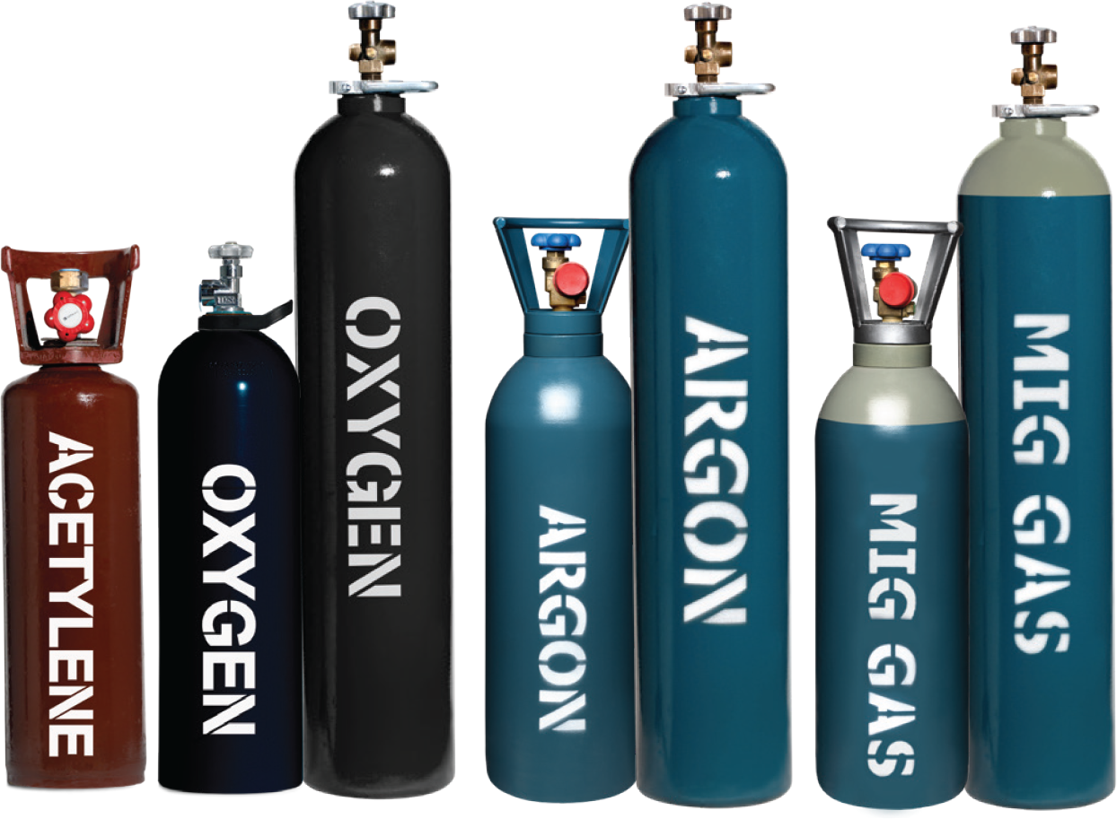 Acetylene, Argio, MIG Shielding Gas and Oxygen Gas Bottle Refill