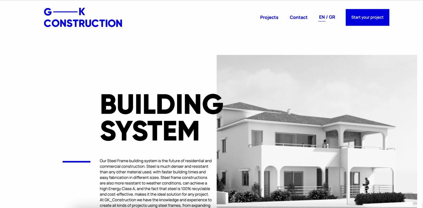 gk construction website