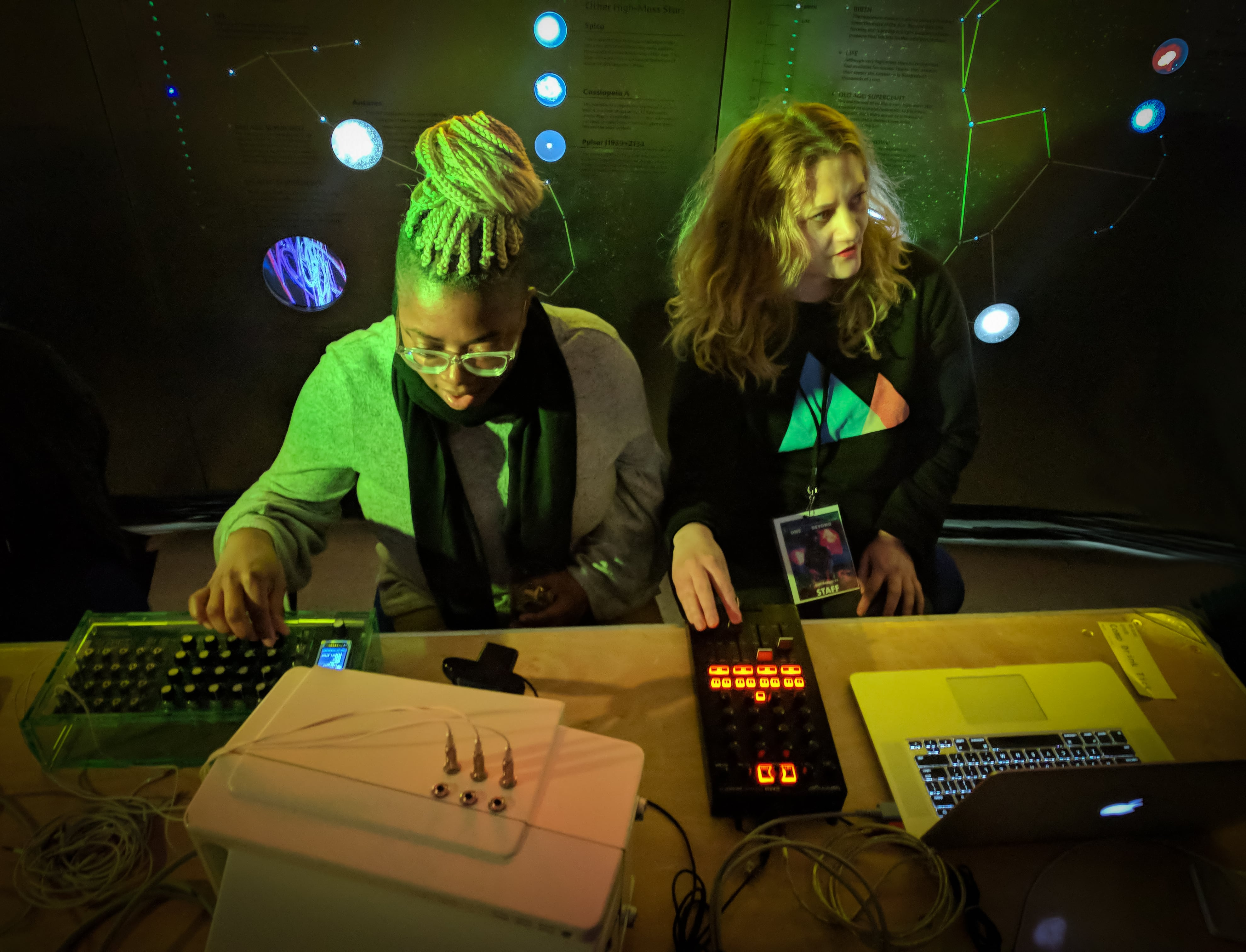 Tasha Dougé and Jennie West mix visuals with resident media artist Benton C Bainbridge for One Step Beyond in American Museum of Natural History's Hall of the Universe.