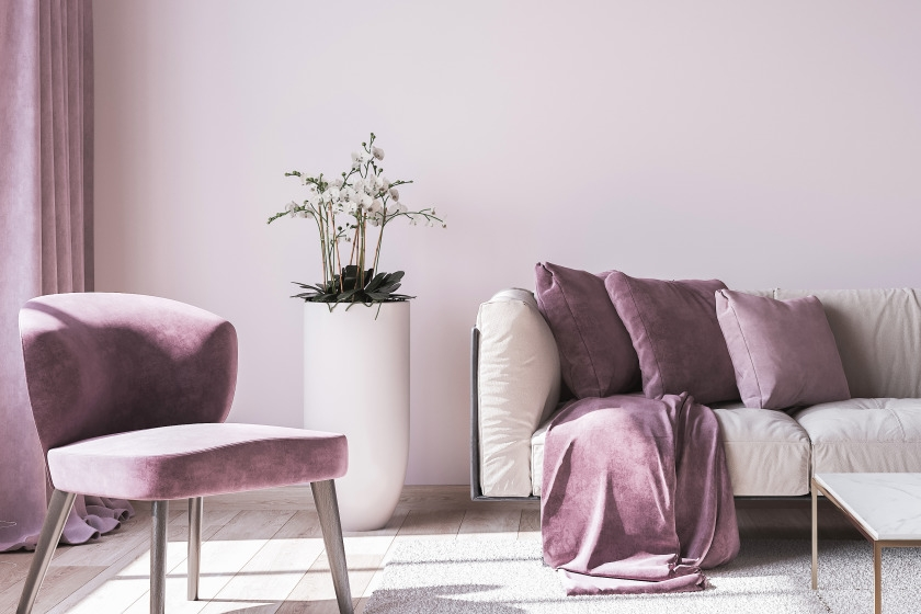 Lavender purple living room