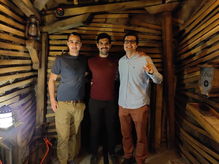 Finishing an escape room with Sterling and Ward from our Product and Engineering team at Triton