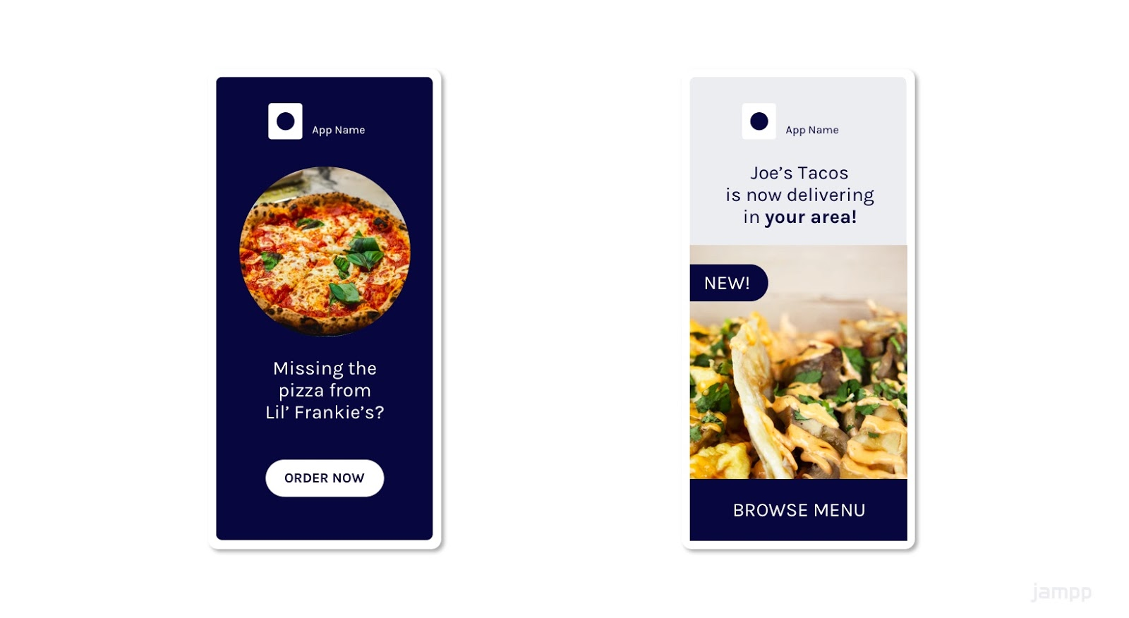 Example of geolocated ads for food delivery apps