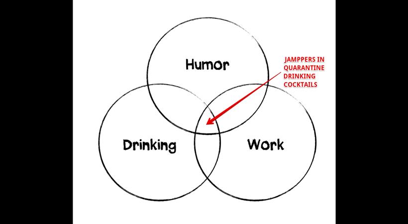 Jamppers in quarantine drinking cocktails title origin