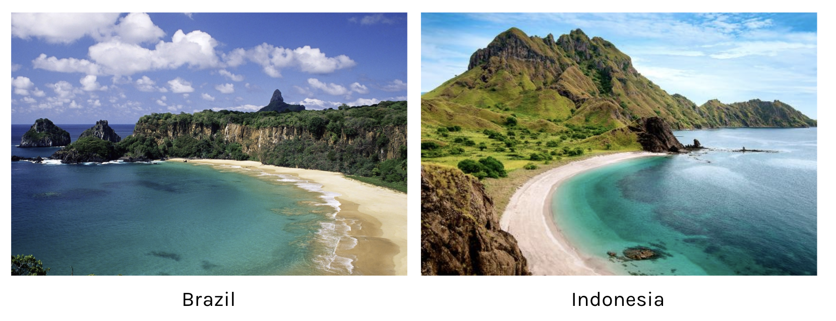 Beaches in both countries are equally highly ranked…