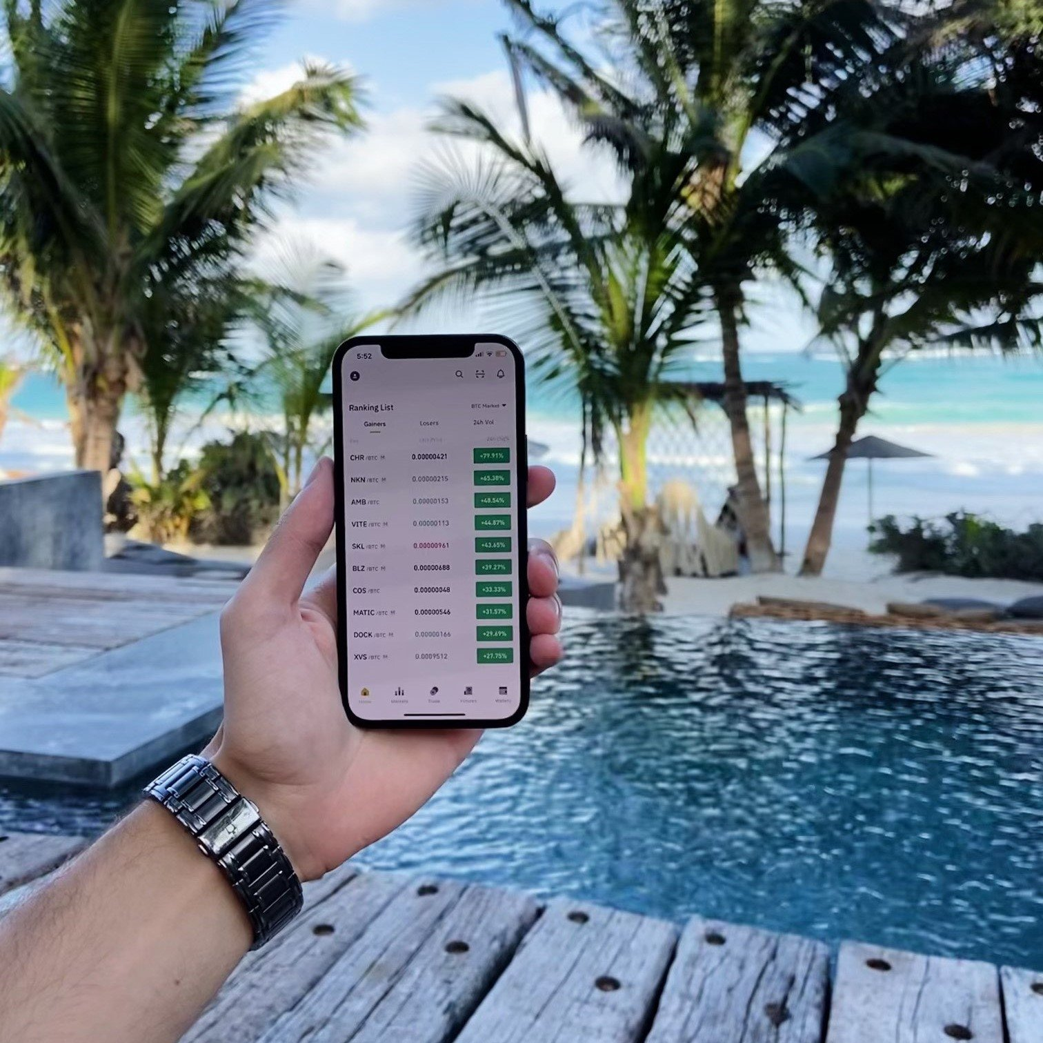 A phone with water and trees in the background